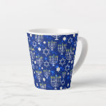 "Happy Hanukkah Modern Star Of David Menorah Latte Mug<br><div class=""desc"">This Hanukkah holidays design features a sparkling blue background with menorah and star of David overlay. #hanukkah #chanukah #holidays #seasonal #festive #modern #blue #menorah #starofdavid #jewish #stylish #elegant #chic #pattern #custom #candles #home #coffee #mugs #coffeemugs #coffeelovers #gifts #drinkware #kitchen #stylish #elegant #fashion #fashionable #trendy #trending #style #popular</div>"