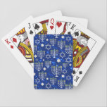 "Happy Hanukkah Modern Star Of David Menorah Playing Cards<br><div class=""desc"">This Hanukkah holidays design features a sparkling blue background with menorah and star of David overlay. #hanukkah #chanukah #holidays #seasonal #festive #modern #blue #menorah #starofdavid #jewish #stylish #elegant #chic #pattern #custom #candles #home #gifts #cards #playingcards #games #stylish #elegant #fashion #fashionable #trendy #trending #style #popular</div>"