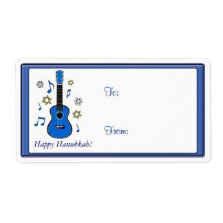 Happy Hanukkah Music with Ukulele Shipping Label