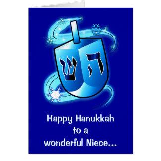 Happy Hanukkah Niece with Spinning Dreidel Card