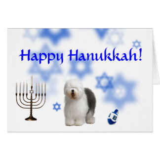 Happy Hanukkah Old english Sheep dog Card