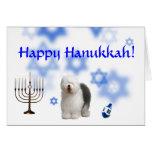 Happy Hanukkah Old english Sheep dog Greeting Card
