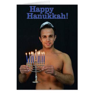 Happy Hanukkah - On shirtless Card