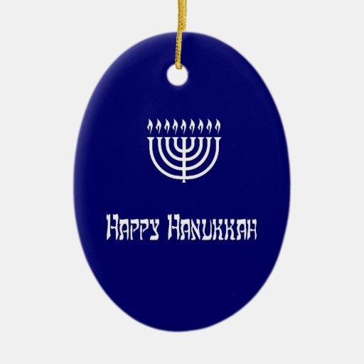 Happy Hanukkah Double-Sided Oval Ceramic Christmas Ornament