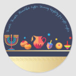 "Happy Hanukkah Party Beautiful Decoration Classic Round Sticker<br><div class=""desc"">Happy Hanukkah Party Beautiful Decoration, Jewish Holiday, Classic Round Sticker. Jewish Holiday Hanukkah background with traditional Chanukah symbols - wooden dreidels (spinning top), donuts, gold menorah, candles, star of David and glowing lights wallpaper pattern. Hanukkah Festival Event Decoration. Jerusalem, Israel. Crafts & Party Supplies > Gift Wrapping Supplies > Stickers...</div>"