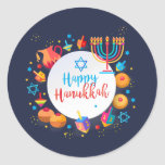 "Happy Hanukkah Party Beautiful Decoration Classic Round Sticker<br><div class=""desc"">Happy Hanukkah Party Festival of lights Beautiful Decoration, Jewish Holiday, Classic Round Sticker. Hanukkah blue lights background with traditional Chanukah symbols - wooden dreidels (spinning top), donuts, menorah, candles, star of David and glowing lights wallpaper pattern. Hanukkah Festival Event Kids party Holiday Birthday Decoration. Jerusalem, Israel. Crafts & Party Supplies...</div>"
