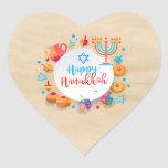 "Happy Hanukkah Party Beautiful Decoration Heart Sticker<br><div class=""desc"">Happy Hanukkah Party Beautiful Decoration, Jewish Holiday, Classic Round Sticker. JJewish Holiday Hanukkah background with traditional Chanukah symbols - wooden dreidels (spinning top), donuts, menorah, candles, star of David and glowing lights Old paper texture wallpaper vintage pattern. Hanukkah Festival Event Decoration. Jerusalem, Israel. Crafts & Party Supplies > Gift Wrapping...</div>"