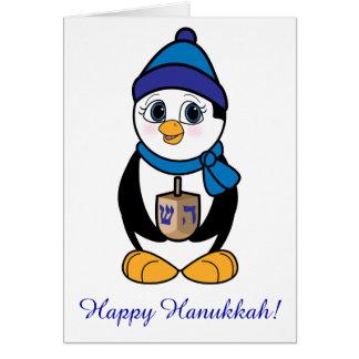 Happy Hanukkah Penguin and Dreidel Card
