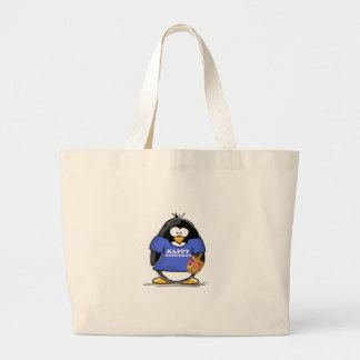 Happy Hanukkah Penguin Jumbo Tote Bag