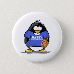 Happy Hanukkah Penguin Pinback Button