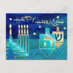 """Happy Hanukkah. Personalized Hanukkah Postcards<br><div class=""""desc"""">Happy Hanukkah / Happy Chanukah. Elegant Festive Star of David,  Menorah and Dreidels Design Customizable Postcards. Matching cards,  postage stamps and other products available in the Jewish Holidays / Hanukkah Category of our store.</div>"""