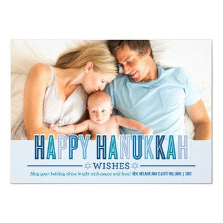 "Happy Hanukkah Photo Card   Shades of Blue 5"" X 7"" Invitation Card"