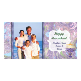 Happy Hanukkah Photo Card with Menorah