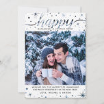 """Happy Hanukkah Photo Color Matching Text Effect Holiday Card<br><div class=""""desc"""">This fun Hanukkah design combines a modern text effect with a traditional theme -- your photo determines the color of the script typography """"Happy, """" as well as the sparkles and snow flakes! Change the image, change the color scheme! That's fun, right? #Happy #Hanukkah #Holidays    This styling ensures that...</div>"""