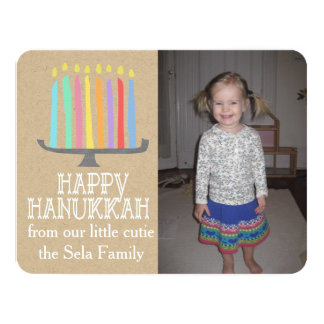 Happy Hanukkah Playful Menorah Photo Card