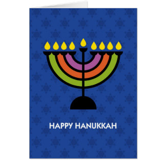 Happy Hanukkah Pop Art Menorah Card