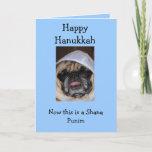 "Happy Hanukkah Pug card<br><div class=""desc"">Hanukkah holiday card with pug on it with yarmulke on top of head</div>"