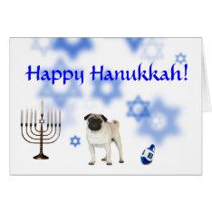 Happy Hanukkah Pug Card at Zazzle