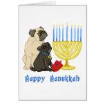 Happy Hanukkah Pugs and Menorah Customizable Cards