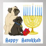 Happy Hanukkah Pugs and Menorah Poster - Customize
