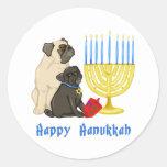 Happy Hanukkah Pugs and Menorah Stickers