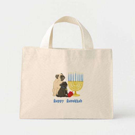 Happy Hanukkah Pugs with Menorah Tote Bags
