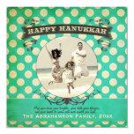 """Happy Hanukkah Retro Cream Dot Photo Holiday Card 5.25"""" Square Invitation Card"""
