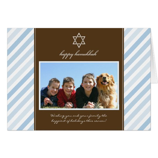 Happy Hanukkah Ribbon Family Holiday Card (blue)