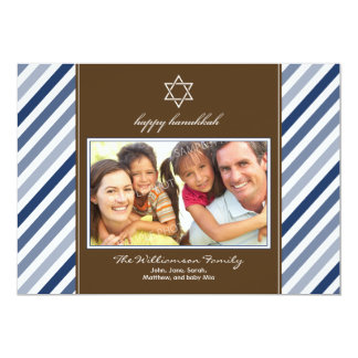 Happy Hanukkah Ribbon Family Holiday Card (navy)