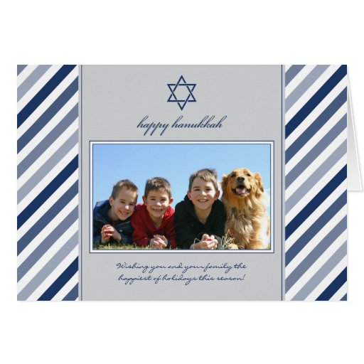 Happy Hanukkah Ribbon Family Holiday Card (silver)