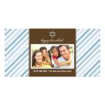 Happy Hanukkah Ribbon Family Photocard (blue) Photo Card