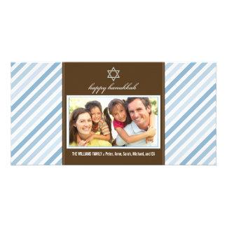 Happy Hanukkah Ribbon Family Photocard (blue) Card