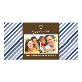 Happy Hanukkah Ribbon Family Photocard (navy) Card