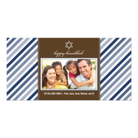 Happy Hanukkah Ribbon Family Photocard (navy) Card