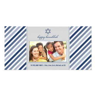 Happy Hanukkah Ribbon Family Photocard (silver) Personalized Photo Card