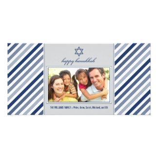 Happy Hanukkah Ribbon Family Photocard (silver) Card