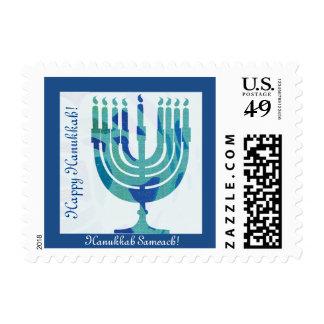 Happy Hanukkah Sameach, blue menorah postal stamp