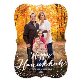 "Happy Hanukkah Script Photo Card 5"" X 7"" Invitation Card"