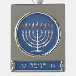 Happy Hanukkah Silver Menorah - Banner Ornament 2 Silver Plated Banner Ornament