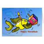 """Happy Hanukkah"" Sparky fish comic Greeting Card"