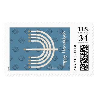Happy Hanukkah Stamp menorah.star-of-david pattern