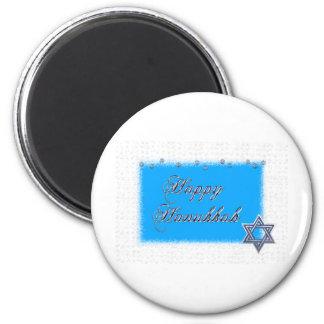 happy hanukkah star 2 inch round magnet