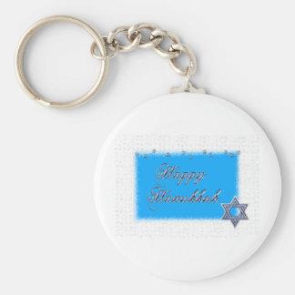 happy hanukkah star basic round button keychain