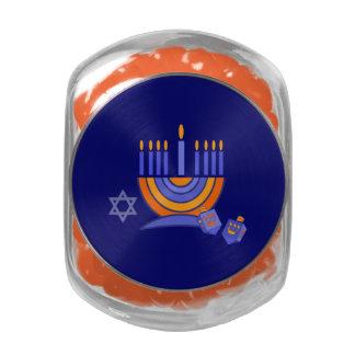 Happy Hanukkah. Star of David and Menorah Jelly Belly Candy Jar