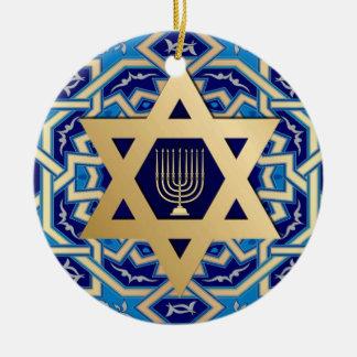 Happy Hanukkah! Star of David and Menorah Design Ceramic Ornament