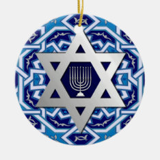 Happy Hanukkah! Star Of David And Menorah Design Ceramic Ornament at Zazzle
