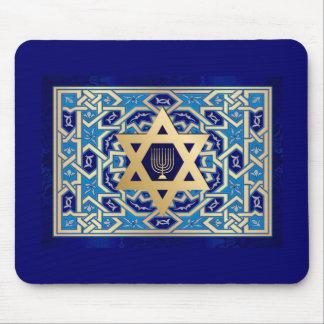 Happy Hanukkah! Star of David  and Menorah Design Mouse Pad