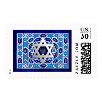 Happy Hanukkah! Star of David and Menorah Design Postage