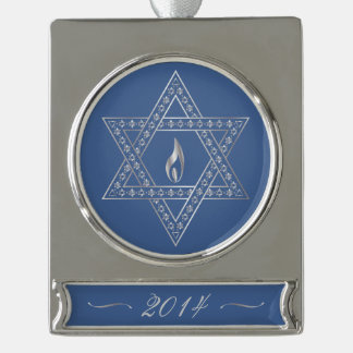 Happy Hanukkah & Star Of David - Banner Ornament Silver Plated Banner Ornament