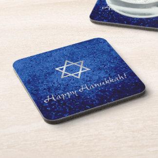 Happy Hanukkah Star of David Beverage Coaster